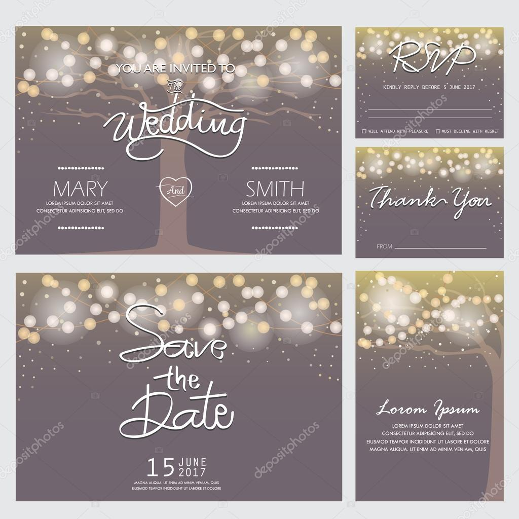 Modern Wedding Invitation Cards Template Vector 9