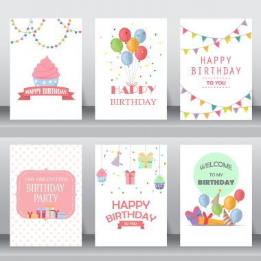 Happy birthday, holiday, christmas greeting and invitation card.  there are balloon, gift boxes, confetti, cup cake. layout template in A4 size. vector illustration stock vector