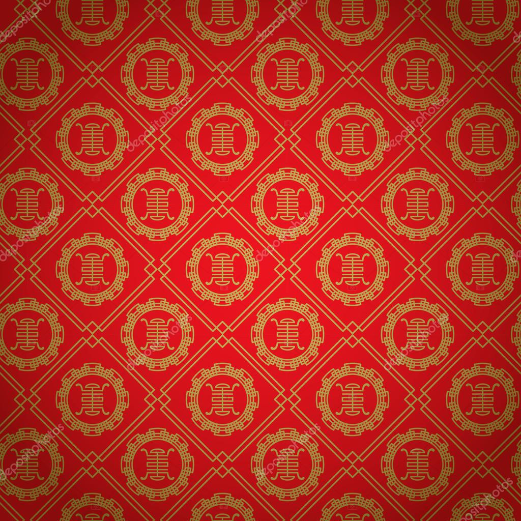 red and gold chinese patterns vector stock vector wongwichainae