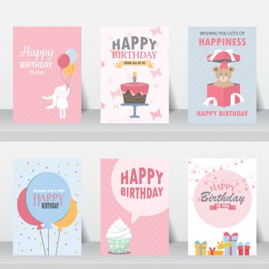 set of birthday invitation card