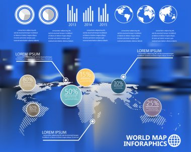 world map and  infographics elements