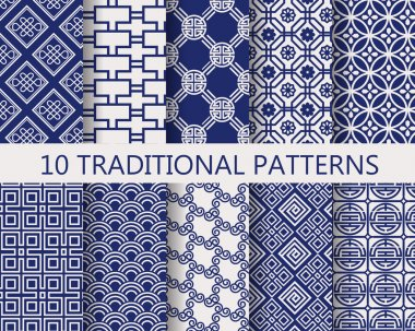 10 different chinese vector patterns