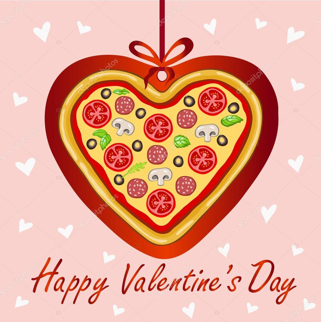 Lovely Decorative Card Happy Valentineu0027s Day With Pizza In The Shape Of A  Heart.White