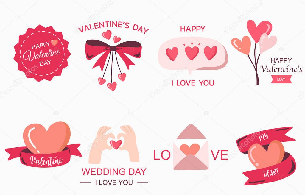 Cute object valentine collection with heart  ribbon balloon icon