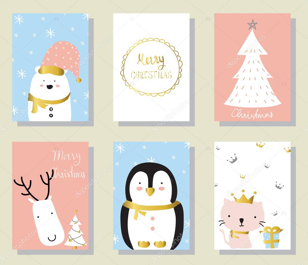Light pink blue love christams greeting card with cat penguin an