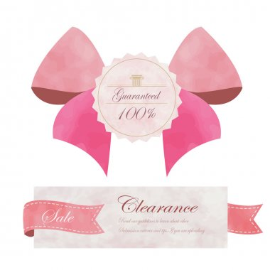 Light pink banner with ribbon