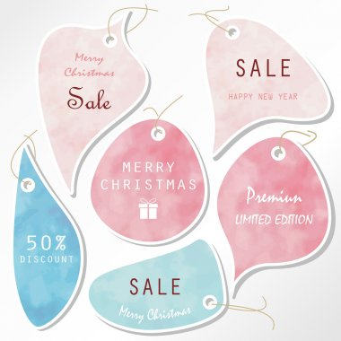 Light pink blue tag on christmas holiday with rope and gift box