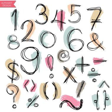 Black pink green blue yellow colorful chalk pencil alphabet lett