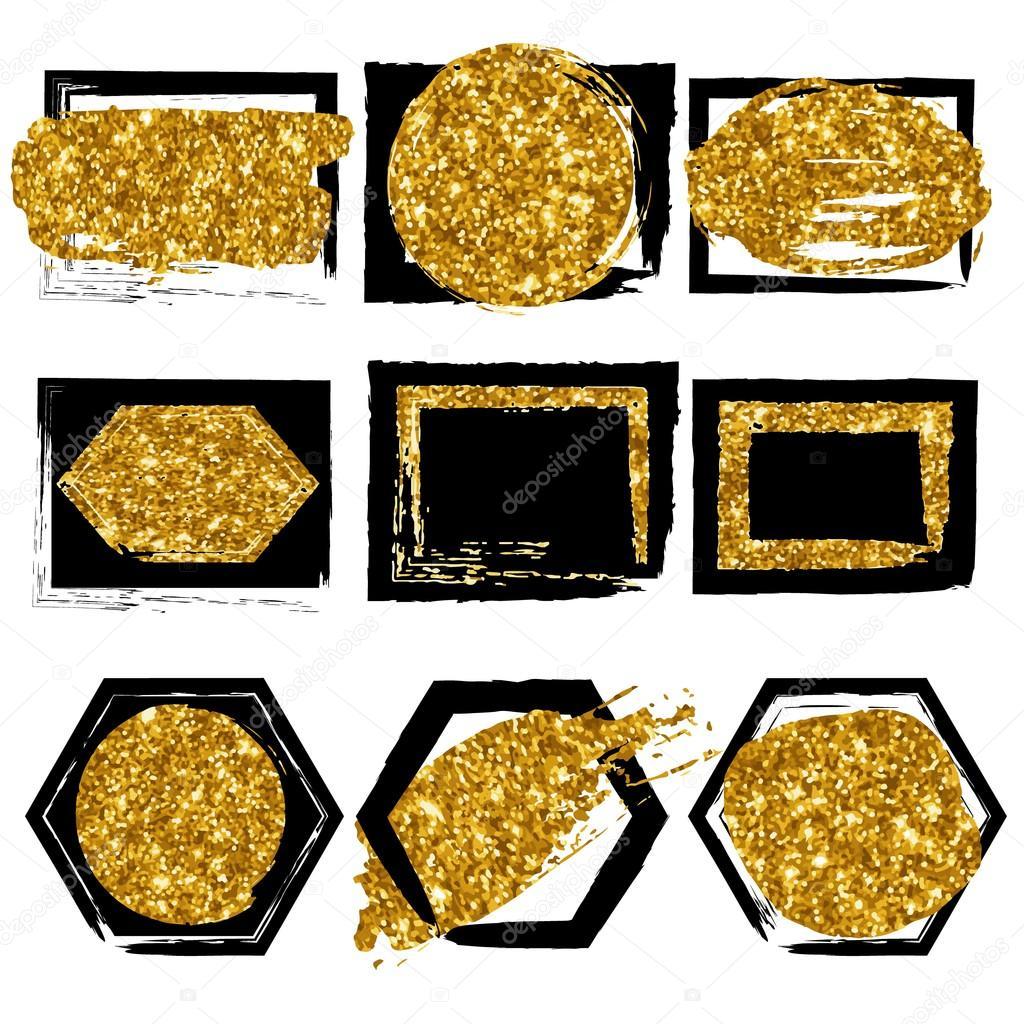Sammlung von Vektorformen. Schwarz mit gold-Glitter-Hintergrund für ...