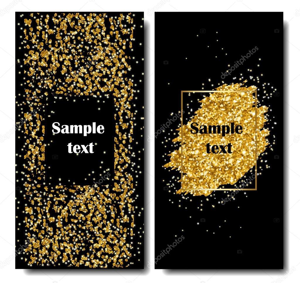 Vertikale schwarz und Gold Banner-Set, Gruß Kartendesign. Goldenen ...