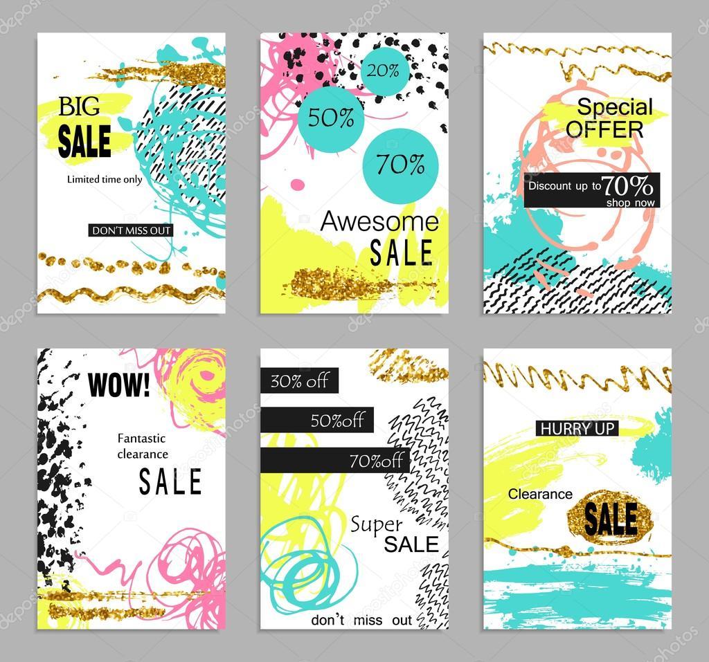 Reihe von social-Media bunten trendigen Verkauf und Rabatt Flyer ...