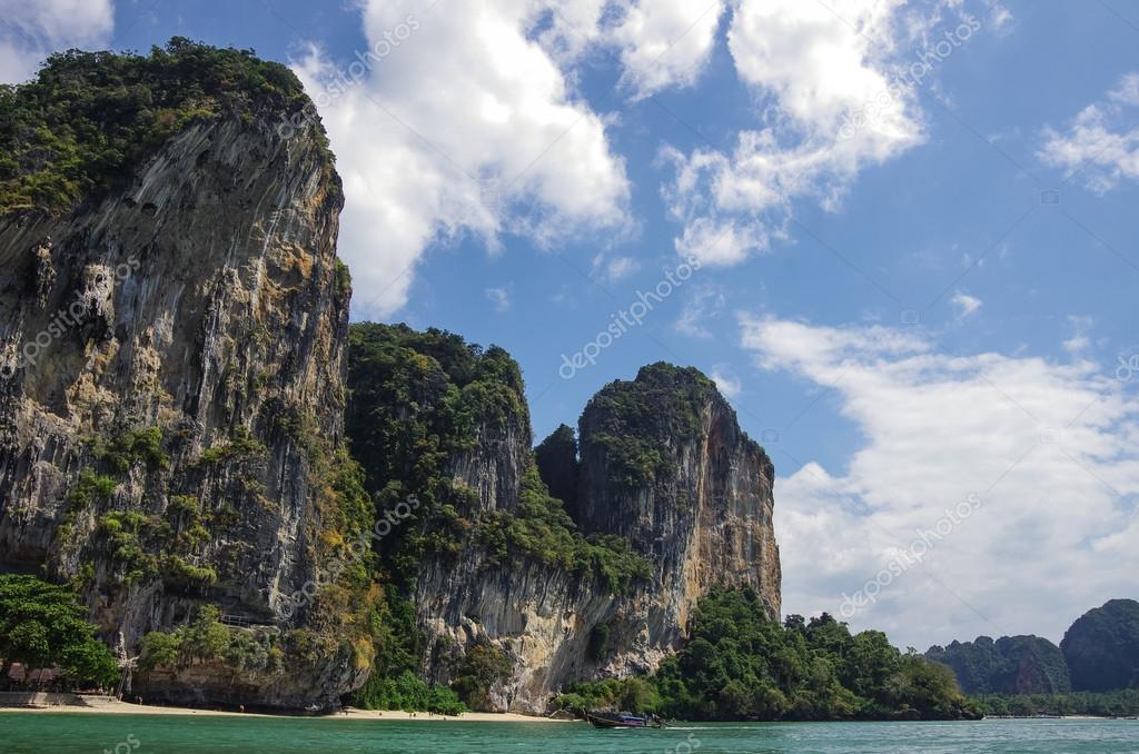 Beautiful limestone rock at Railay beach, Krabi province, Thaila