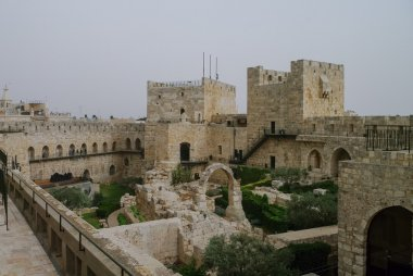 Towers and walls of Jerusalem citadel and Tower of David  in san