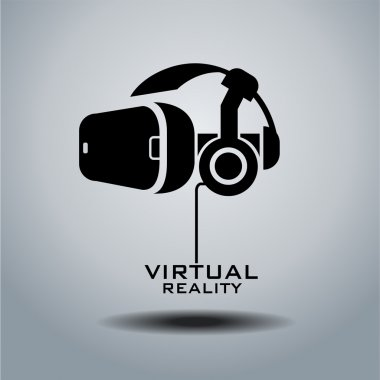 Virtual reality headset icon, flat design, vector stock vector