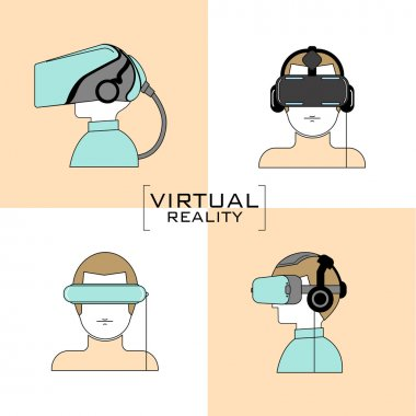 Virtual reality headset icon, flat design, line , vector