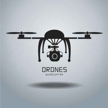 drone quadrocopter, drone vector, drone icon, drone flat design,