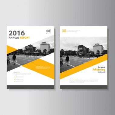 Vector Leaflet Brochure Flyer template A4 size design, annual report book cover layout design, Abstract yellow presentation templates