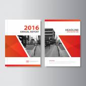 Červené vektor výroční zpráva leták Brochure Flyer šablony design, návrh rozložení knihy, abstraktní červená prezentační šablony