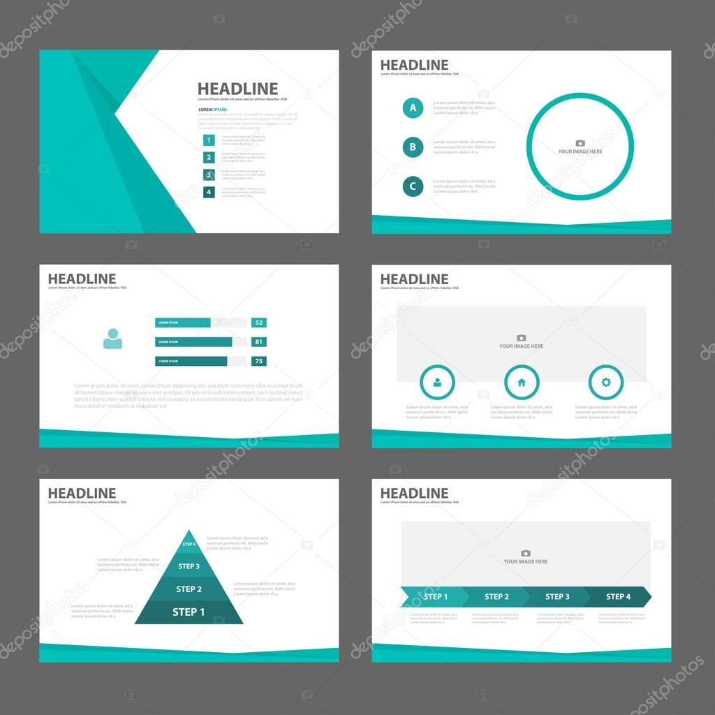 Grüne Präsentationsvorlagen Infographik Elemente flache Design-set ...