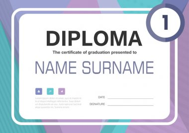 Purple green  A4 Diploma certificate background template layout design