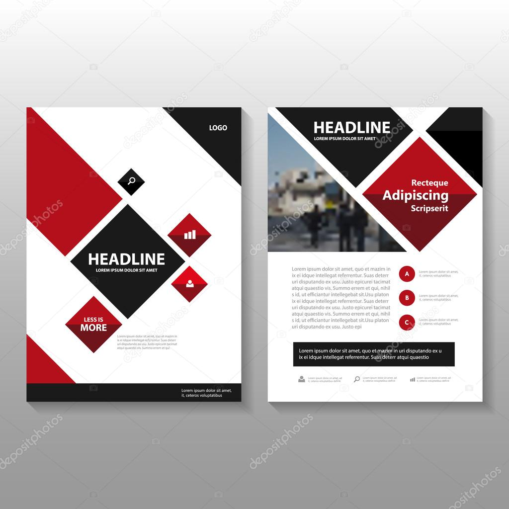 red black square vector annual report leaflet brochure flyer