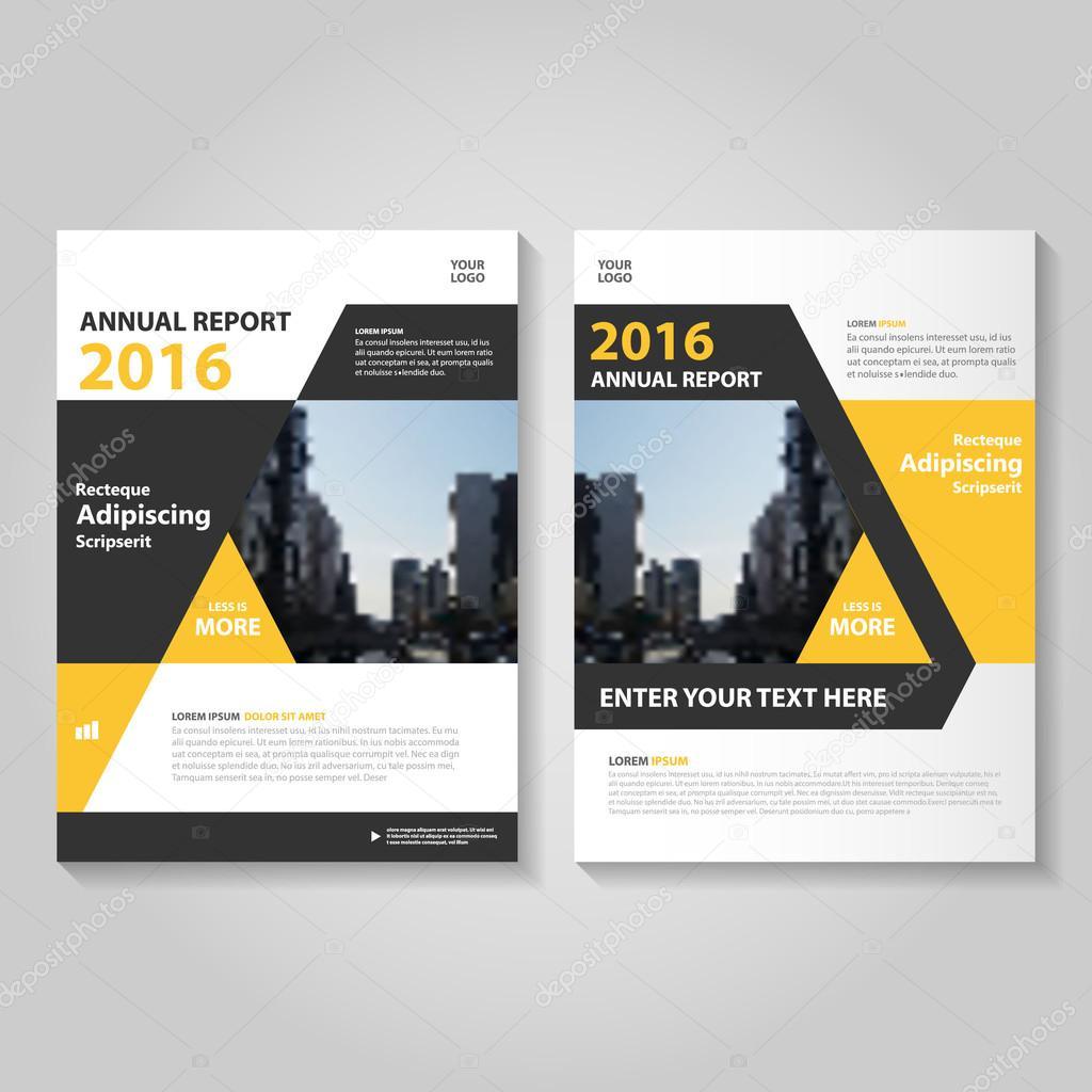 Negro amarillo anual Informe folleto folleto Flyer plantilla diseño ...