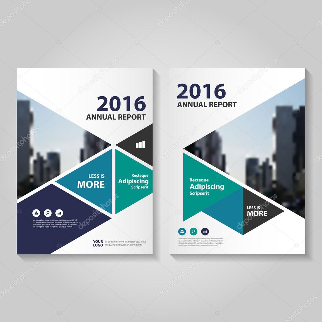 Triángulo azul verde morado anual Informe folleto folleto plantilla ...