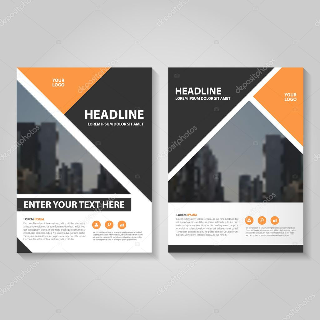 Orange Black Vector Annual Report Leaflet Brochure Flyer Template - Brochure flyer templates