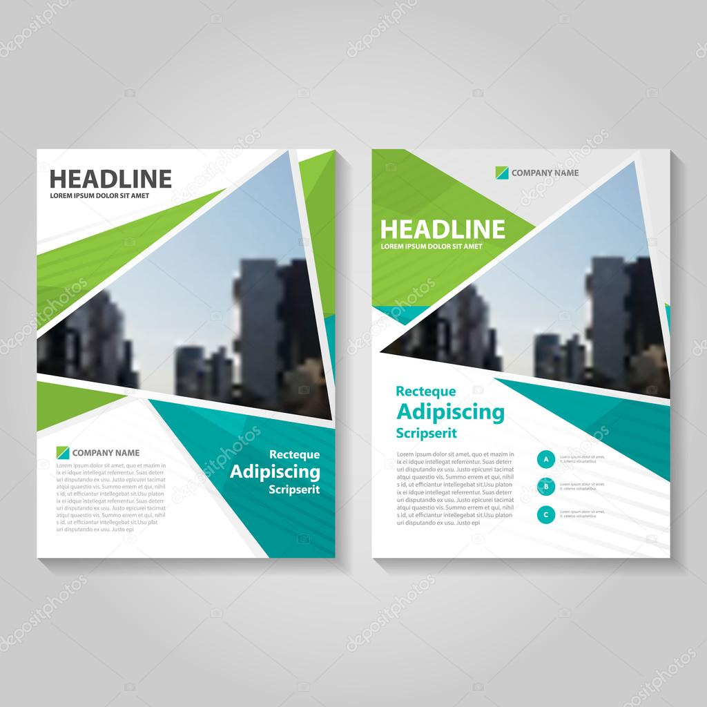 Green Polygon Vector Leaflet Brochure Flyer Template Design Book - Brochure flyer templates