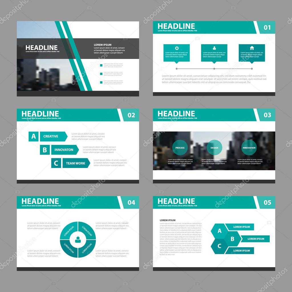 Plantillas de presentación verde negro elementos de infografía flat ...