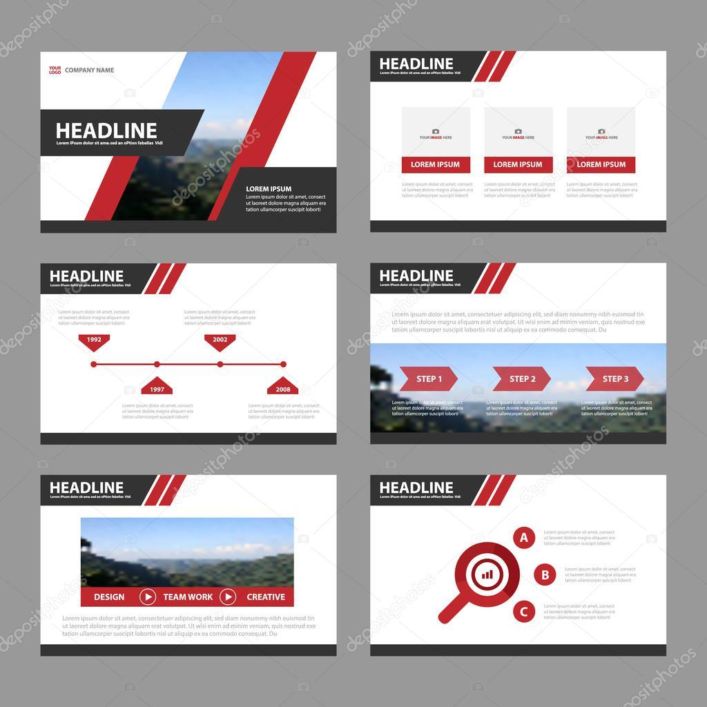 Red Black presentation templates Infographic elements flat design ...