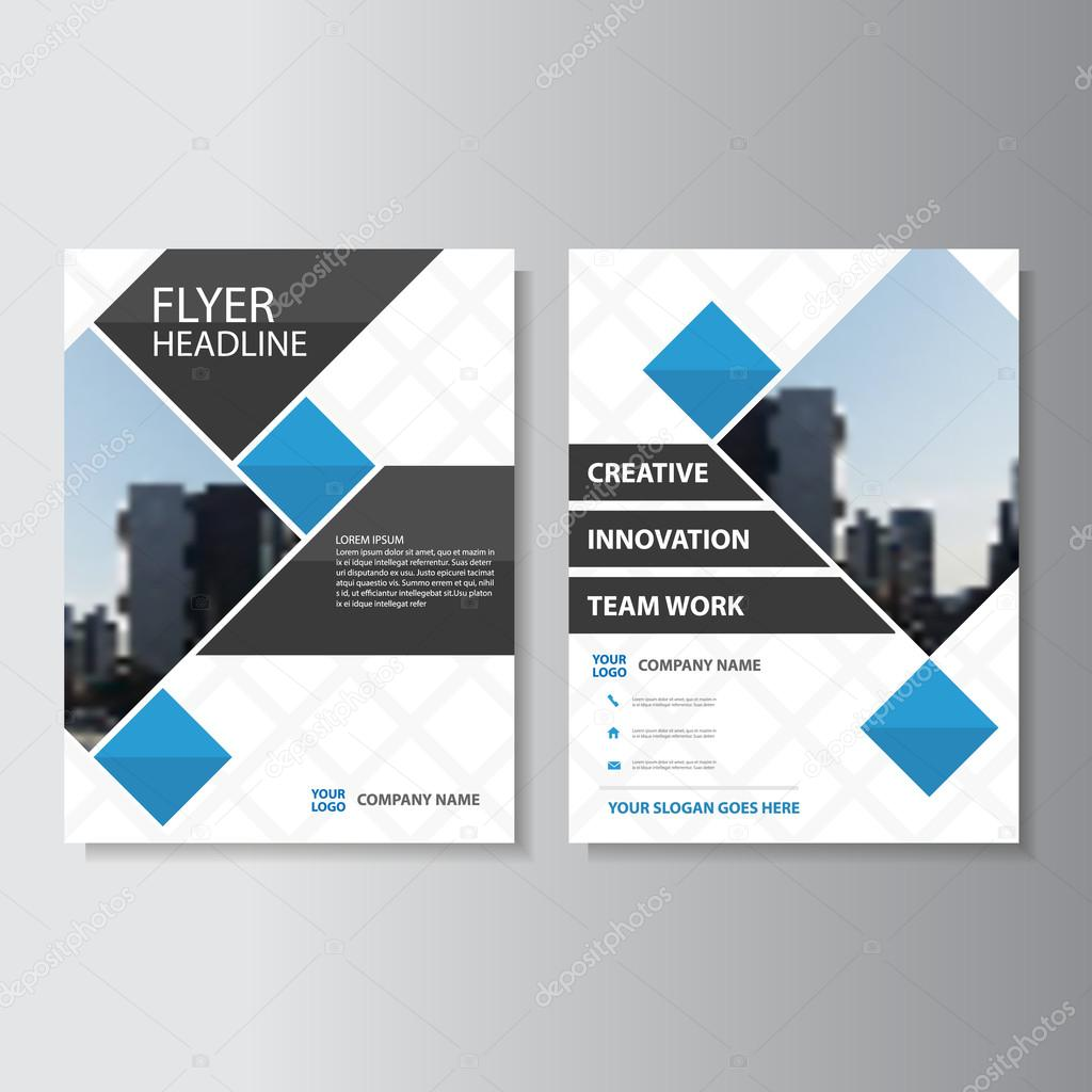 Blue Square Vector Corporate Annual Report Leaflet Brochure Flyer Template  Design, Book Cover Layout Design
