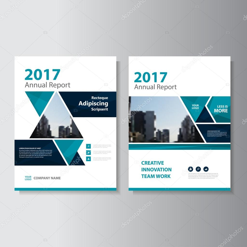 triangle green vector annual report leaflet brochure flyer template