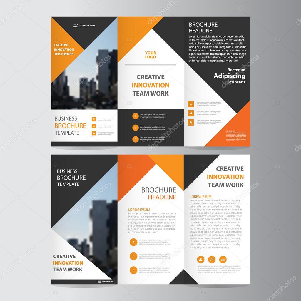 Orange Black Elegance Business Trifold Business Leaflet Brochure