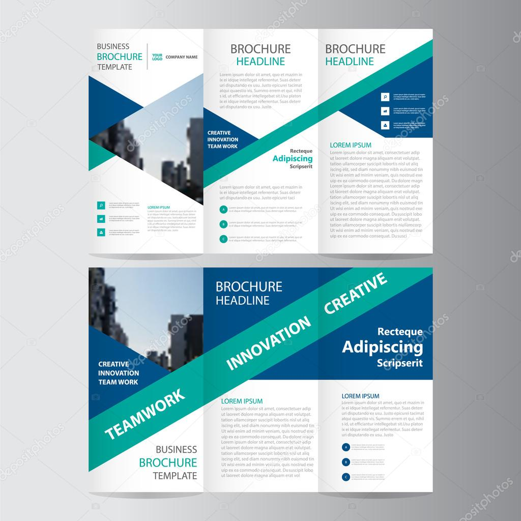 Triángulo azul verde elegancia negocio triple negocio folleto ...