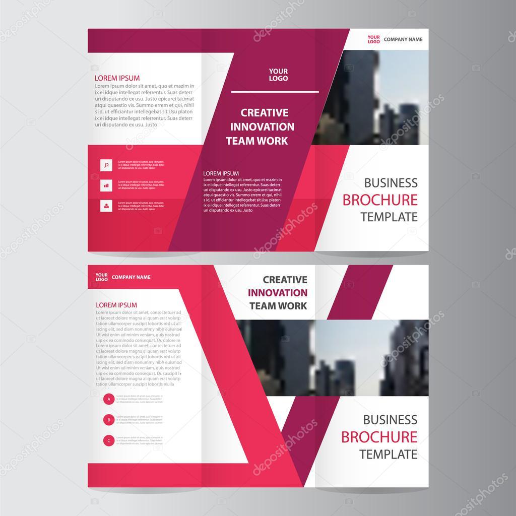 紫ピンク エレガンス ビジネス 3 つ折りリーフレット パンフレット