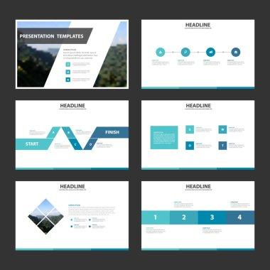 Blue minimal presentation templates Infographic elements flat design set for brochure flyer leaflet marketing advertising