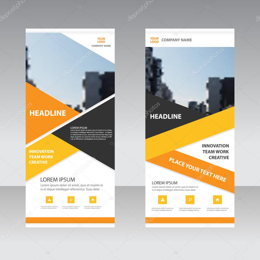 Orange Yellow Triangle Business Roll Up Banner Flat Design