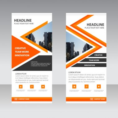 Orange triangle Business Roll Up Banner flat design template ,Abstract Geometric banner template Vector illustration set, abstract presentation template
