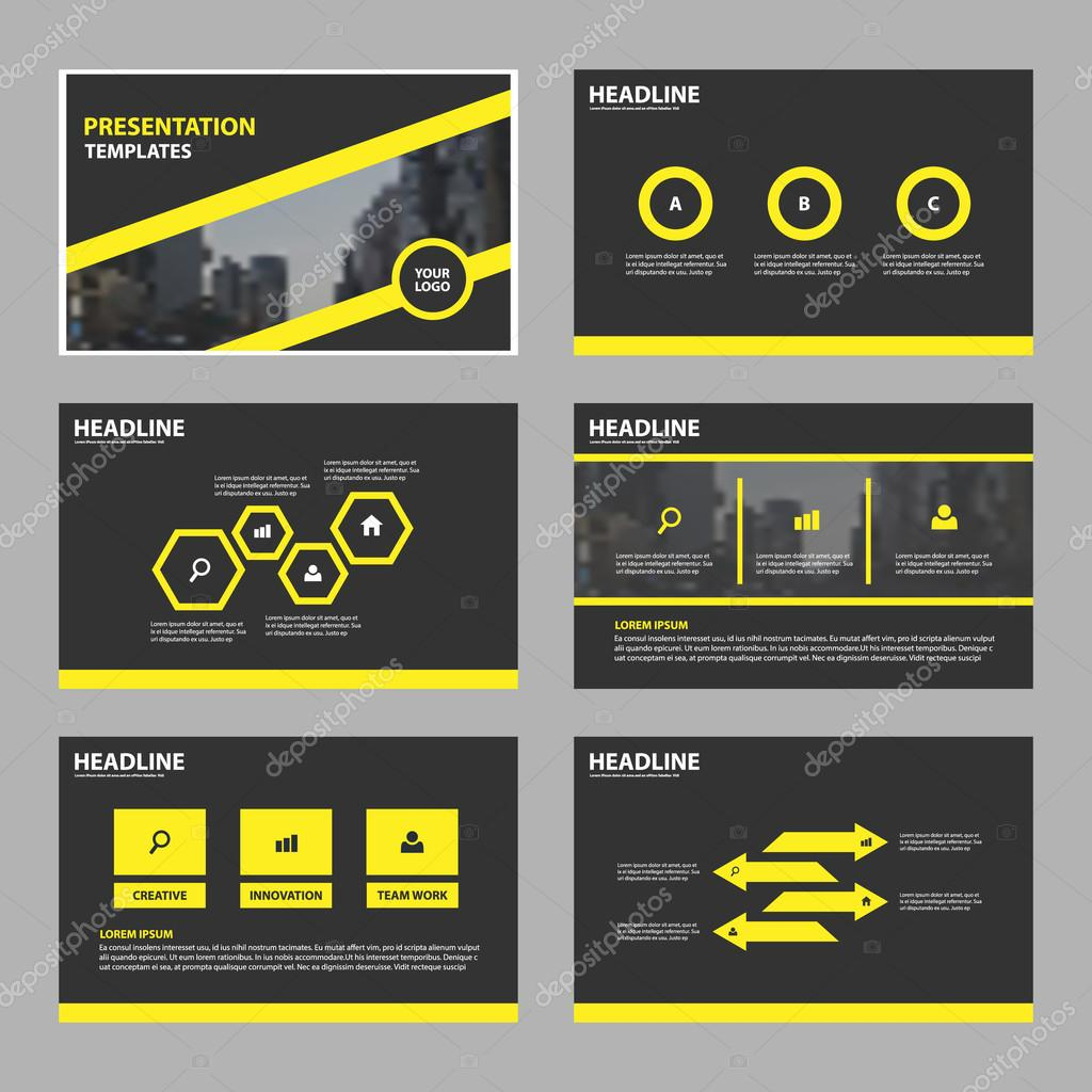 Yellow black Abstract presentation templates, Infographic elements ...