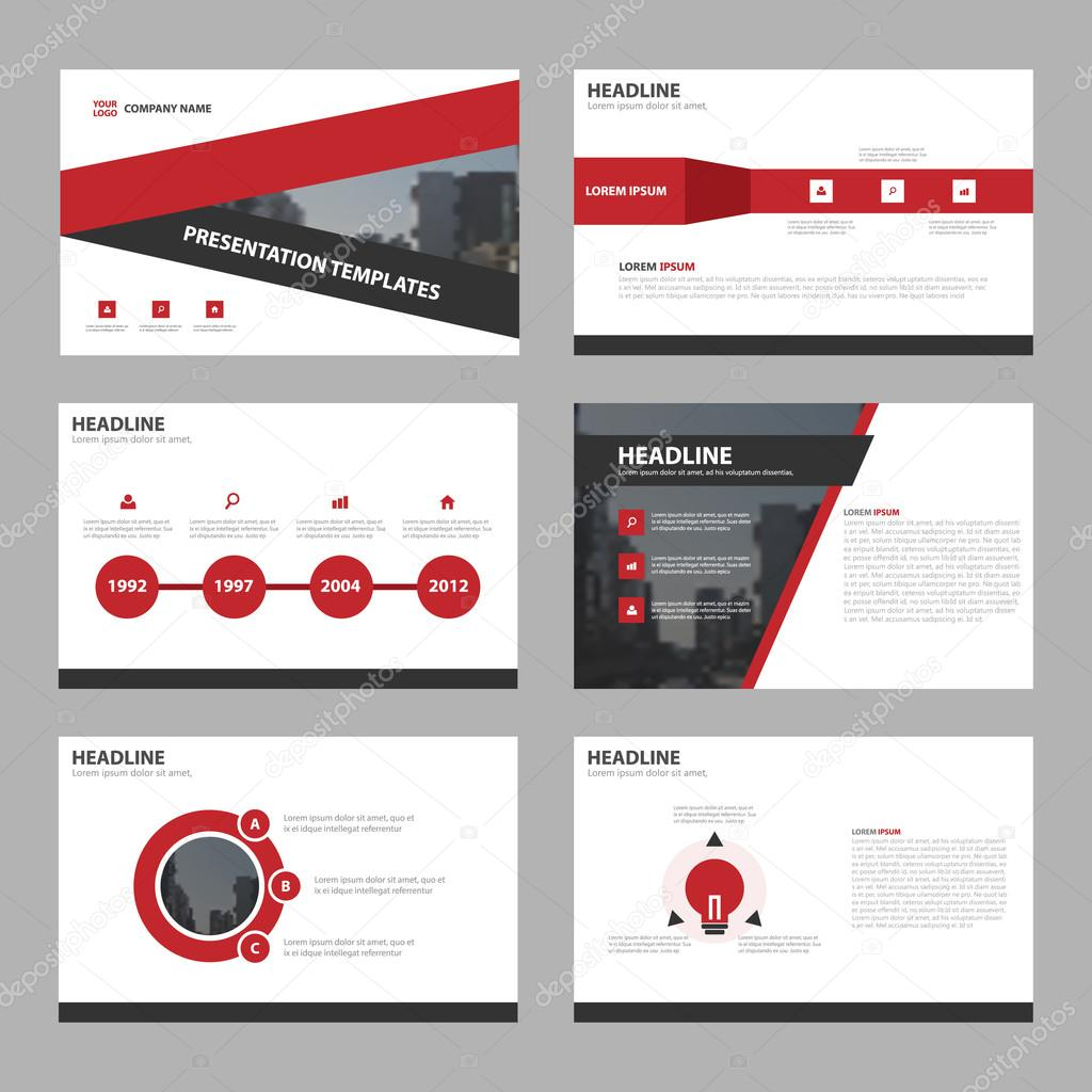 Red triangle Abstract presentation templates, Infographic elements ...