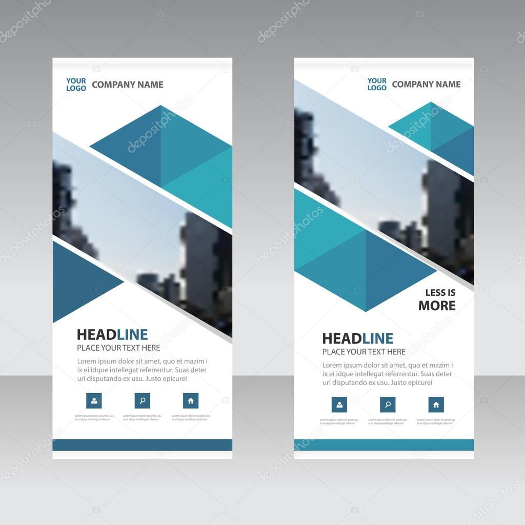 Blue Abstract Triangle Business Roll Up Banner Flat Design