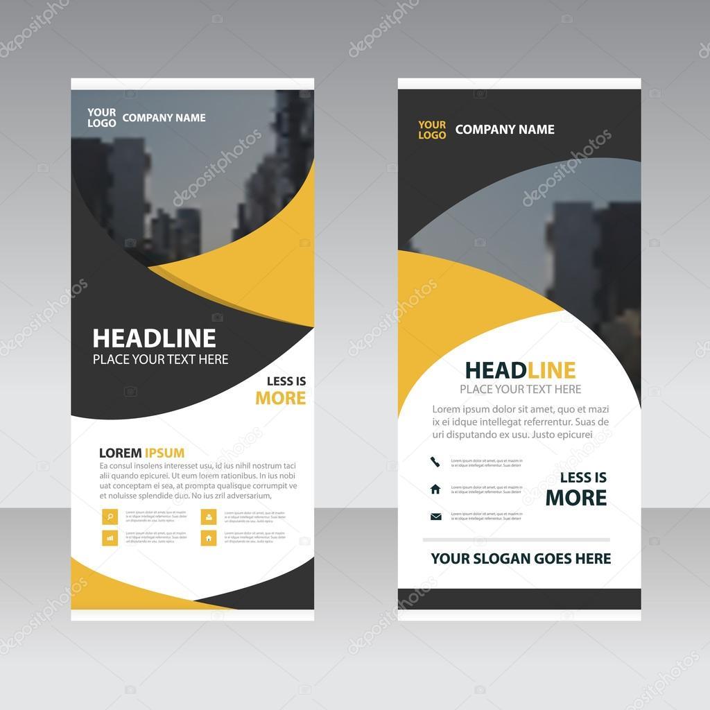 Yellow Black Business Roll Up Banner Flat Design Template