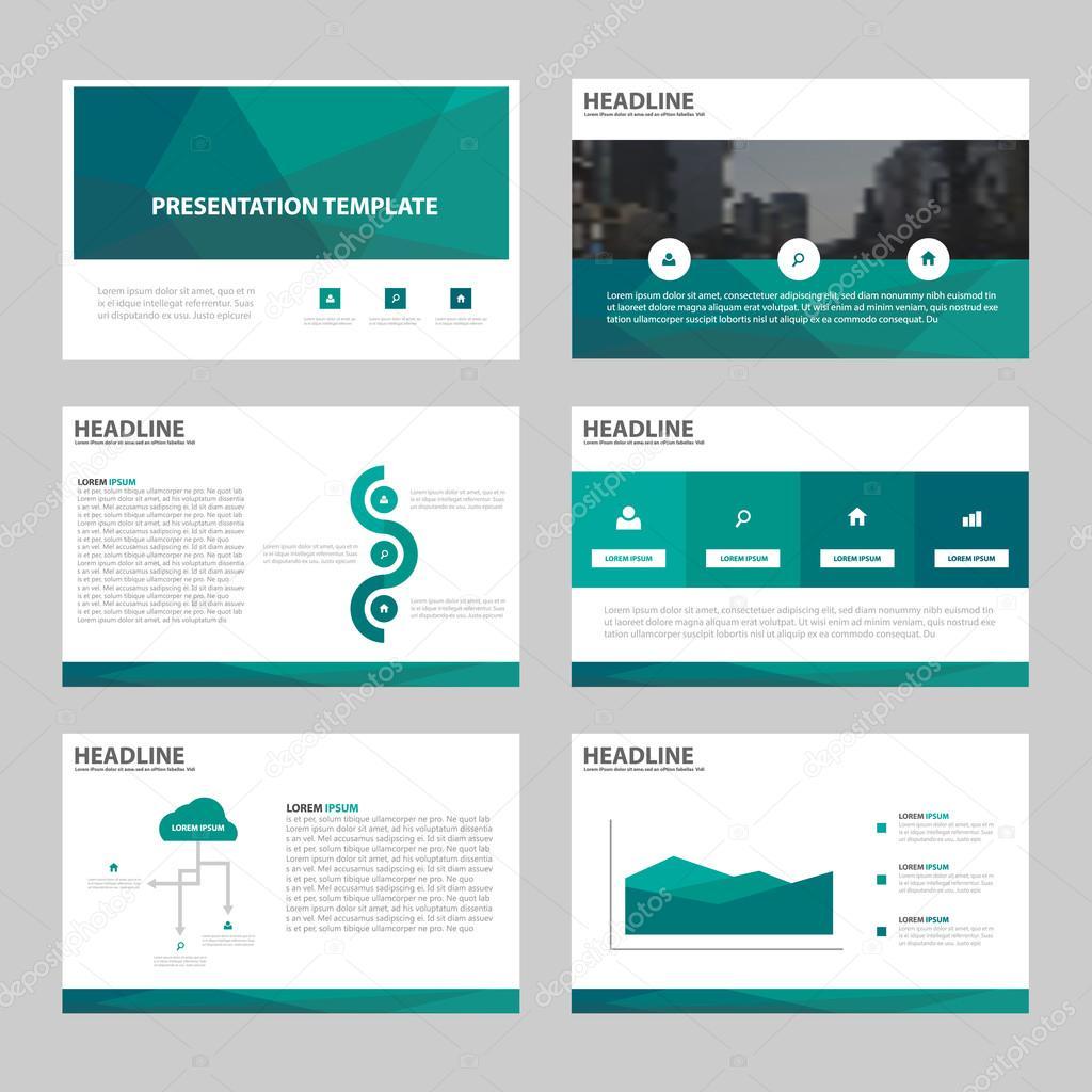 Grünes Polygon abstrakte Präsentationsvorlagen, Infografik Elemente ...
