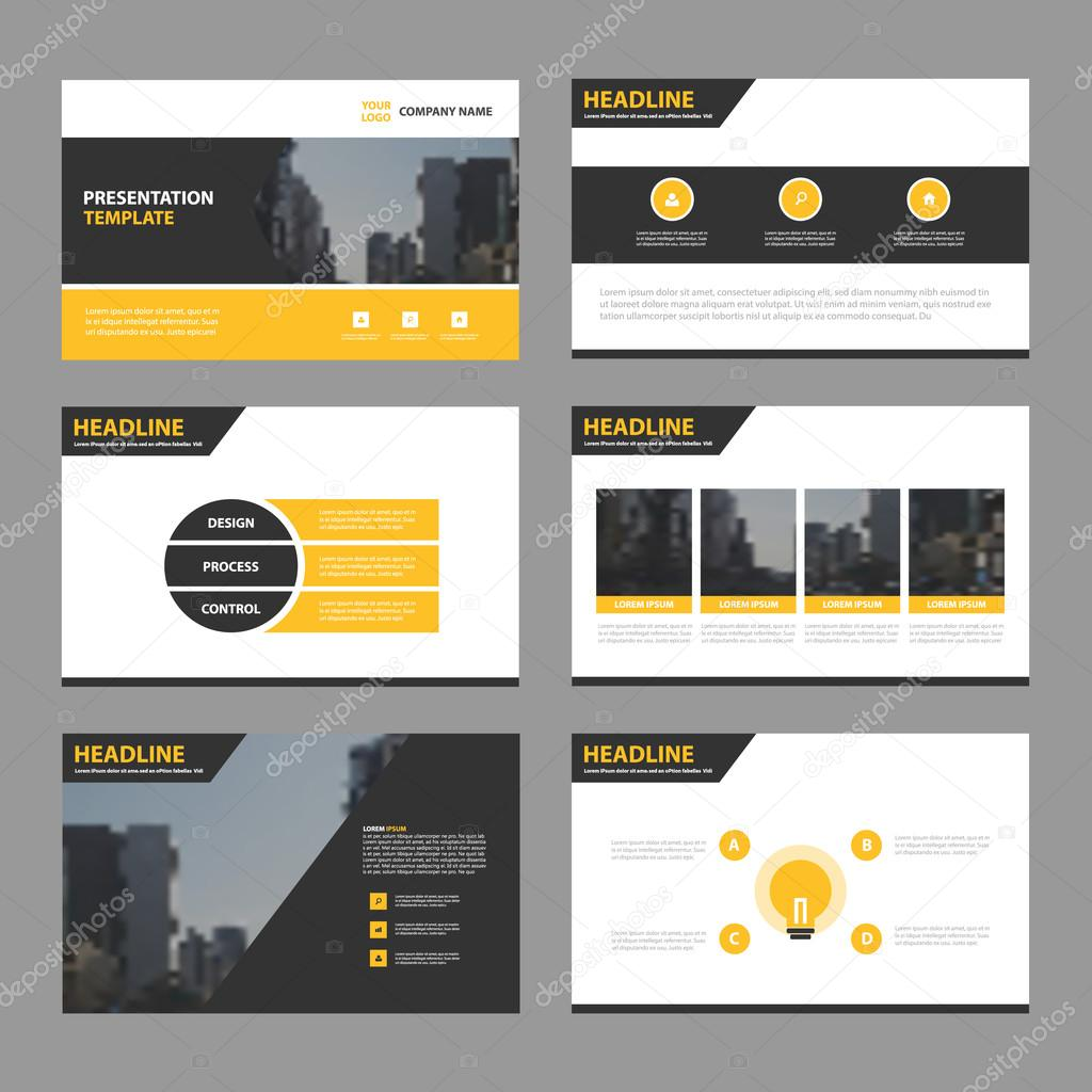 yellow black abstract presentation templates, infographic elements, Template Presentation Brochure, Presentation templates