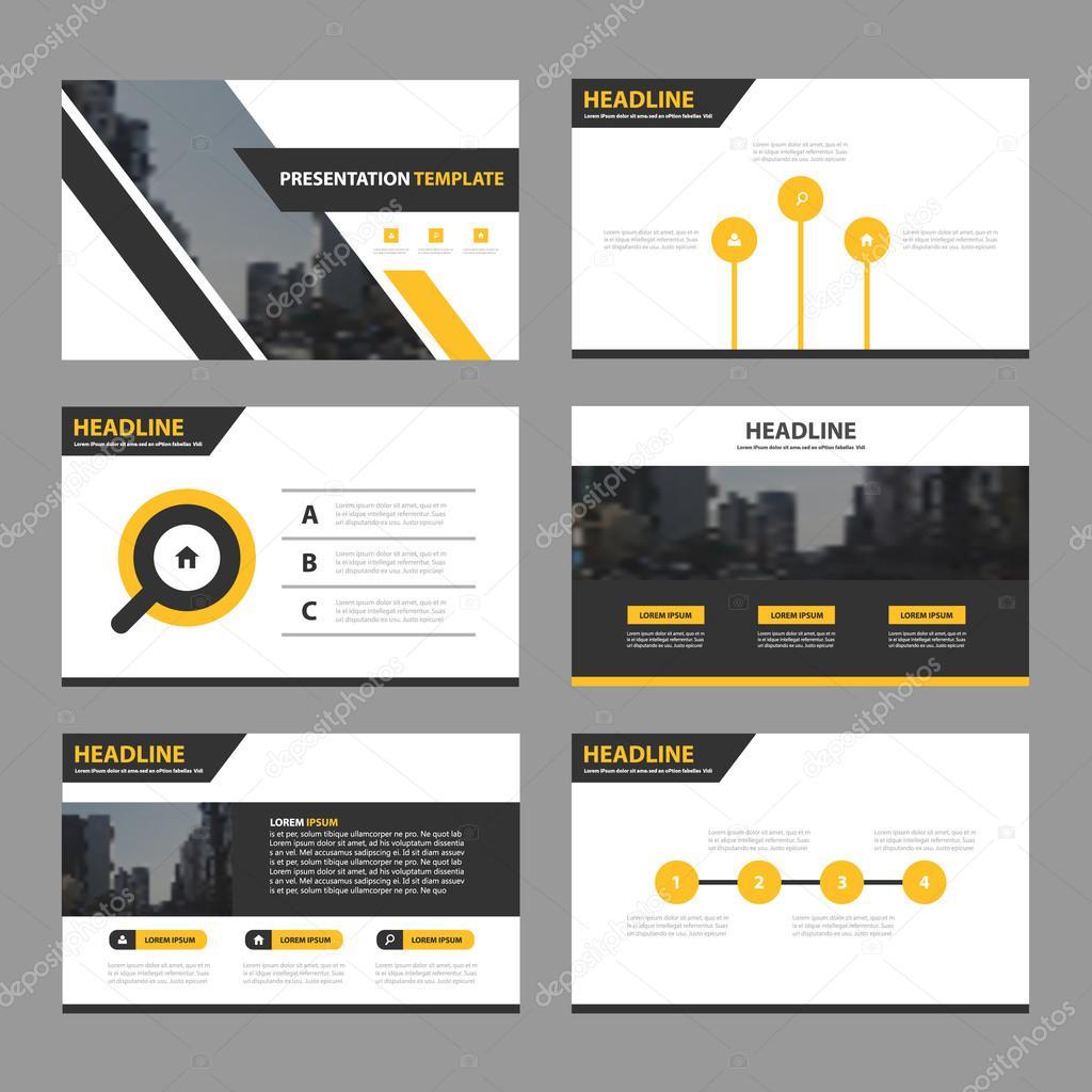 de presentación de negocio negro amarillo, infografía diseño plano ...