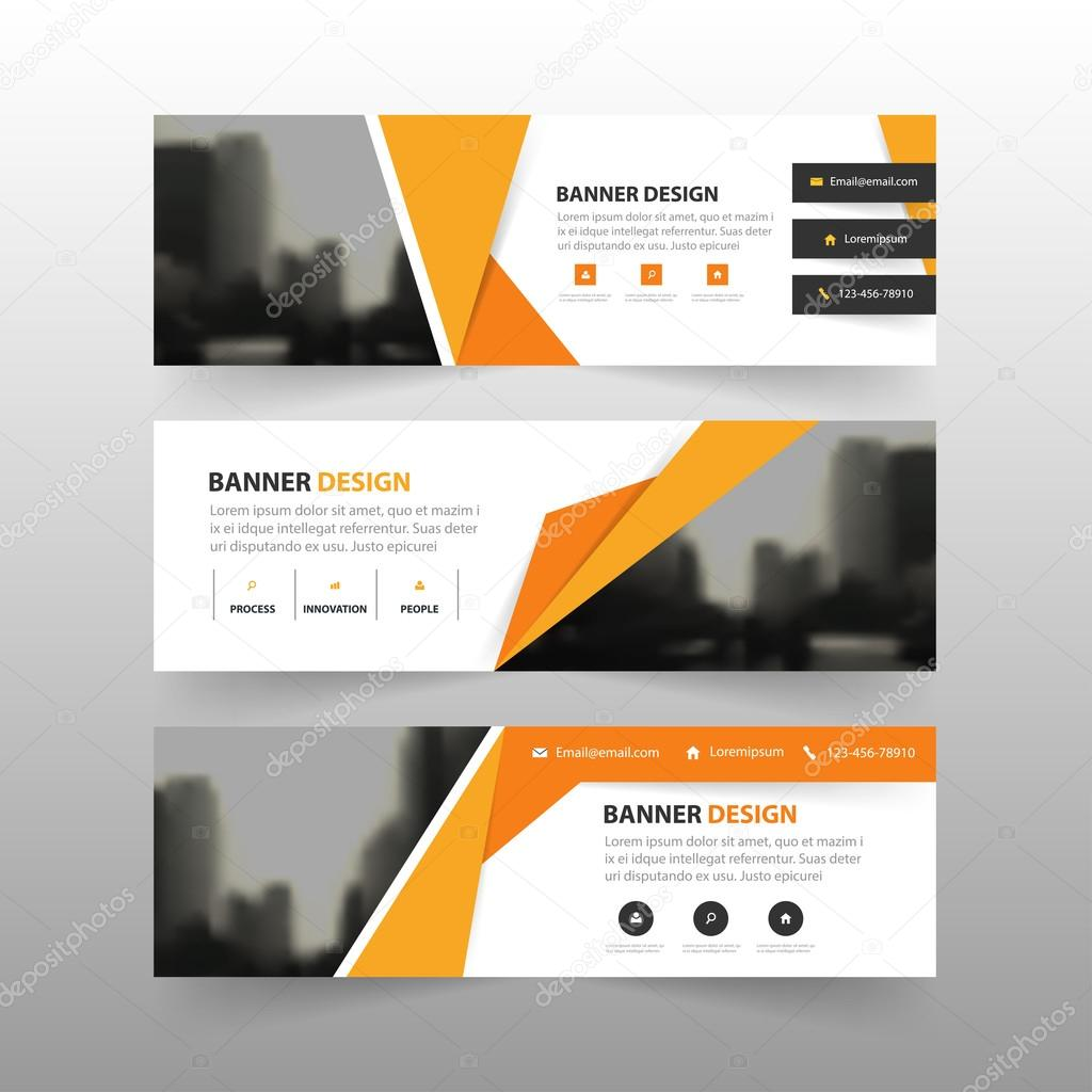 Orange Yellow Abstract Polygon Corporate Business Banner Template