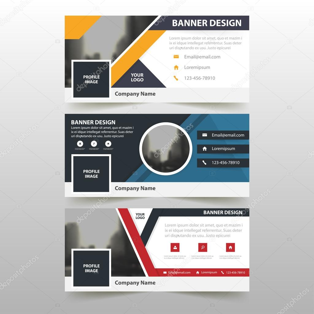 Blue orange red corporate business banner template, horizontal ...