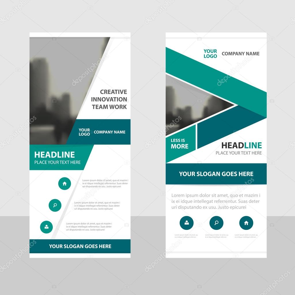 green business roll up banner flat design template abstract