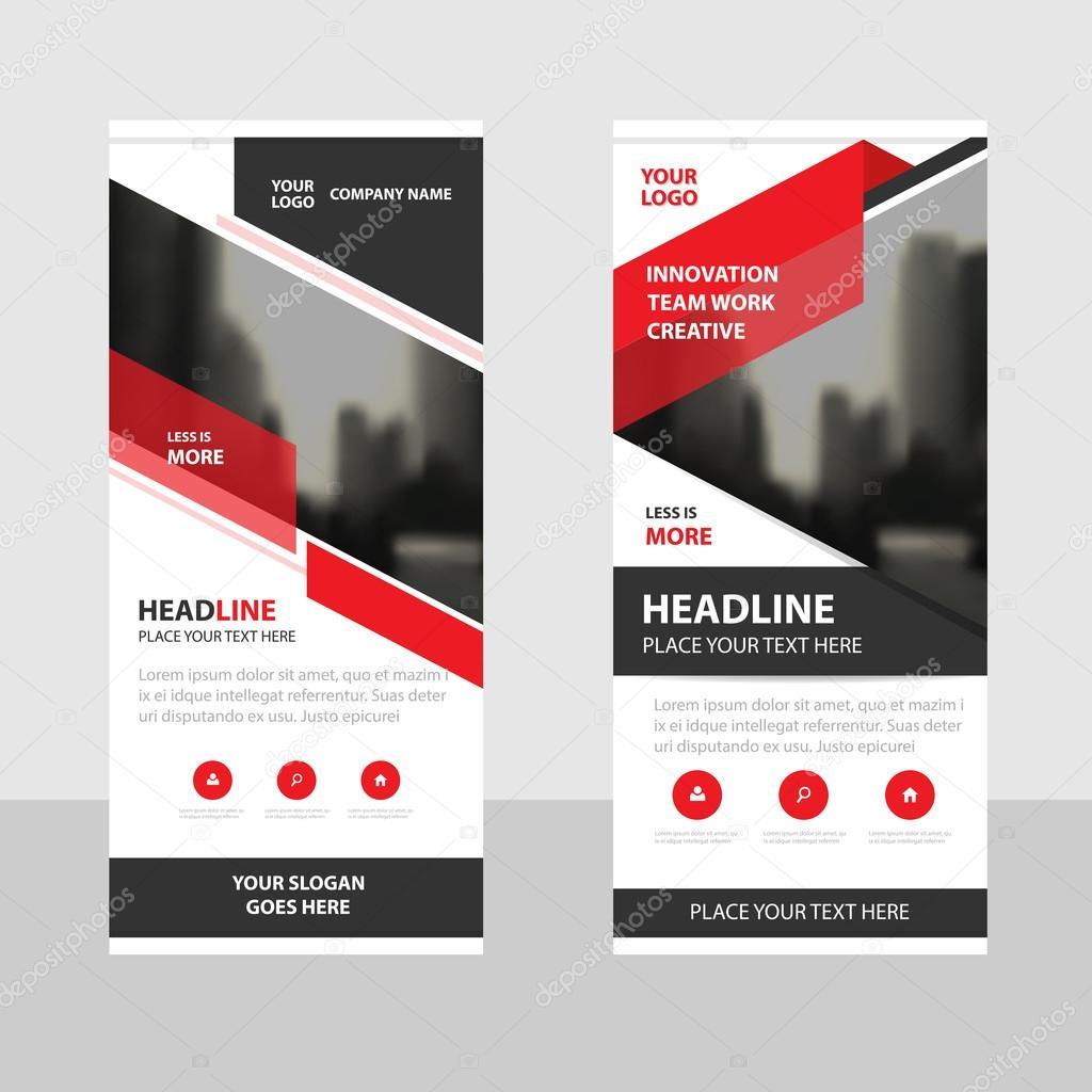 Rot schwarzes Dreieck Business Roll-Up Banner flache Design-Vorlage ...
